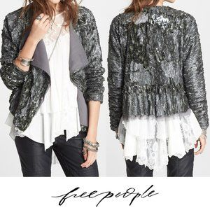 Free People Silver Sequined Party Jacket XS
